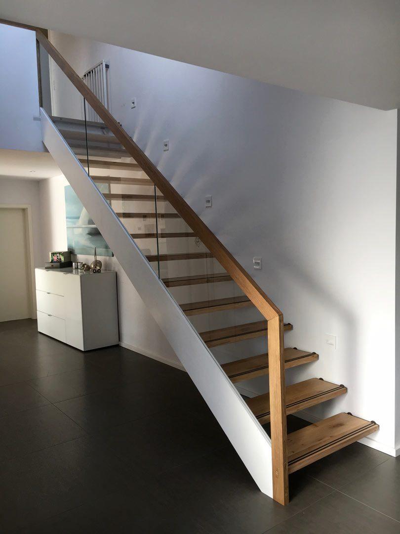 Treppe Holz Eiche Glas Gelaender Modern Tischler Hannover