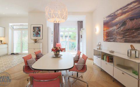 Stadthaus hochwertige Malerarbeiten Hannover glatte Decken Waende stilvoll Weiss Beige Smooth Wohnzimmer Essen MeinMaler Lieblingsmaler