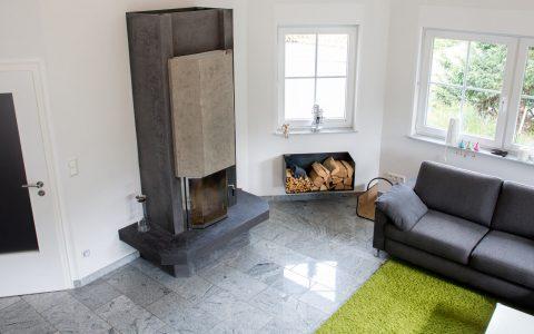 Wohnzimmer Waende smooth Kamin Betonoptik Referenz Maler Hannover